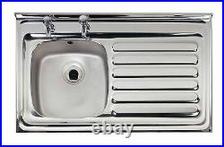 Contract Kitchen Sink Sit/Lay On Square Front 1.0 & Drainer 1000 x 500mm Or Tap