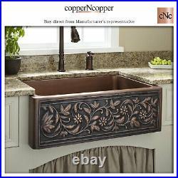 Copper Kitchen Sink Single Bowl Embossed Front Apron Hammered Antique Finish