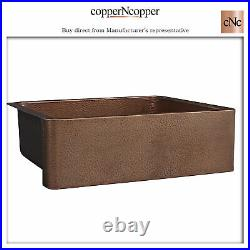 Copper Kitchen Sink Single Bowl Front Apron Antique Hammered