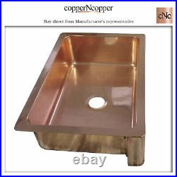 Copper Kitchen Sink Single Bowl Front Apron Smooth Shining Copper