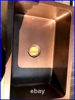 Copper Single Bowl Square Kitchen Sink Laundry Washing Sink Plumbing Waste UK