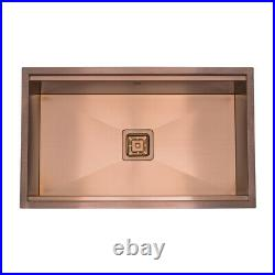 Copper Single Bowl Workstation Kitchen Sink with Accessories