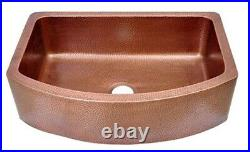 D-Shape Design Copper Kitchen Sink Single Bowl Dimensions 33 x 22.25 x 9