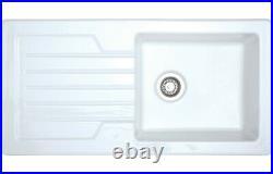 Designer Ceramic Single Bowl Drainer Kitchen Sink Traditional White Reversible
