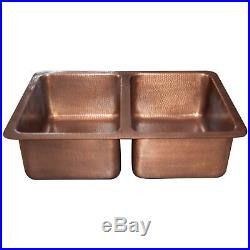 Double Bowl Copper Kitchen Sink Hammered Single Wall Design Antique Finish