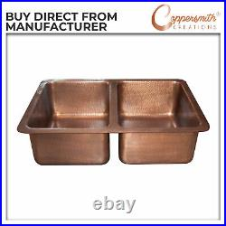 Double Bowl Single Wall Copper Kitchen Sink Hammered Antique Finish