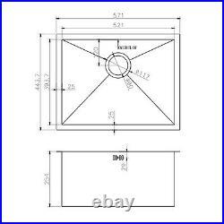 ENKI KS006 Stainless Steel Undermount Kitchen Sink 1.0 Single Bowl Square Satin
