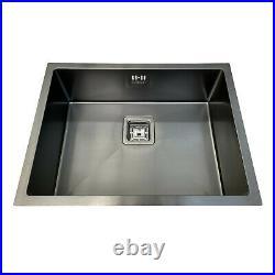 ENKI KS036 Black Single Bowl Square Strainer Inset Undermount Kitchen Sink Steel