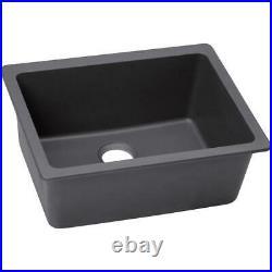 Elkay Quartz Luxe Undermount 25 in. Single Bowl Kitchen Sink in Charcoal