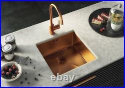 Ellsi Elite Single Bowl Kitchen Sink Stainless Square Undermount Copper Waste