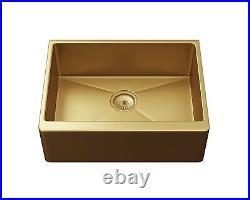 Ellsi Excel Single Bowl Kitchen Sink Stainless Rectangular Undermount Gold Waste