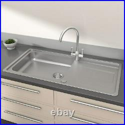 Enza Isabella Single Bowl Reversible Drainer Stainless Steel Chrome Kitchen Sink