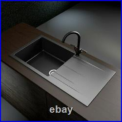 Enza Madison Single Bowl Reversible Drainer Composite Granite Kitchen Sink