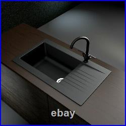 Essence Amelia Single Bowl Reversible Drainer Granite Composite Black BeBa 26200