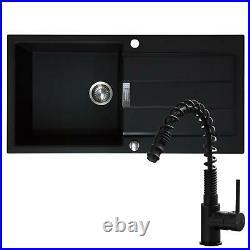Franke 1.0 Bowl Black Reversible Composite Kitchen Sink & KT7BL Pull Out Tap