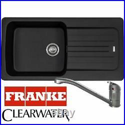 Franke Aveta 1.0 Bowl Black Tectonite Kitchen Sink & Clearwater Creta Mixer Tap