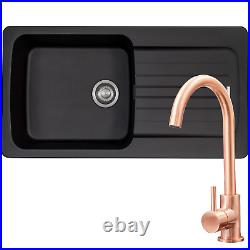 Franke Aveta 1 Bowl Black Tectonite Kitchen Sink & Modern Copper Mixer Tap