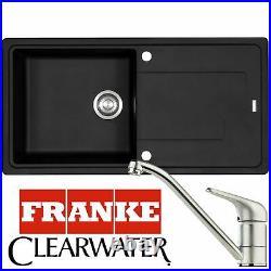 Franke Gemini 1.0 Bowl Black Kitchen Sink And Clearwater Creta Chrome Mixer Tap