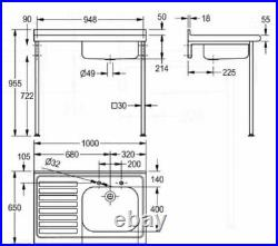 Franke Kitchen Single Bowl Medical Laboratory Sink Left Drainer 2 Hole G22048LT
