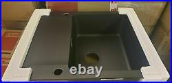 Franke Orion Black Onyx Tectonite 1.0 Bowl Square Kitchen Sink Drainer Waste