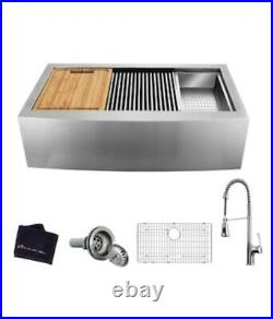 Glacier Bay All-in-One Apron-Front Farmhouse Stainless Steel 33 in. Single Bowl