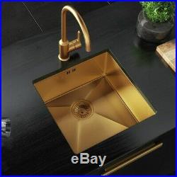 Gold Brushed Kitchen Sink Belfast 1.5 Bowl Inset Single Bowl Undermount Waste