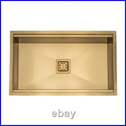 Gold Kitchen Sink Square Drain Single Bowl Stainless Steel ACCESSORIES INCLUDED