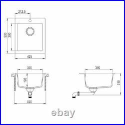 Granite Bowl Kitchen Sink Extra-deep Single Basin Basket Strainer Waste Kit