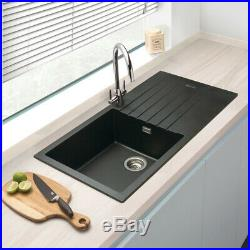 Granite Composite Single Bowl Kitchen Sink & Drainer Black 1000mm x 500mm x 2