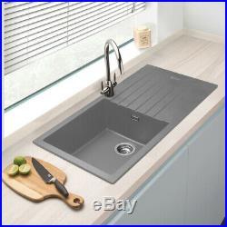 Granite Composite Single Bowl Kitchen Sink & Drainer Grey 1000mm x 500mm x 200mm