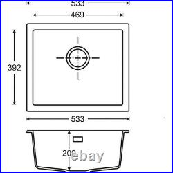 Granite Composite Undermount Kitchen Sink Single Bowl Black