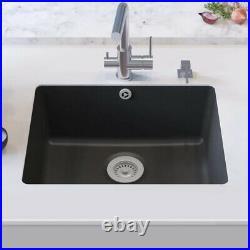 Granite Kitchen Sink 1 Bowl Black Single Large Basin Undermount Strainer Basket