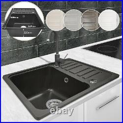 Granite Kitchen Sink Reversible Drainer Single Bowl Under & Top Mounting