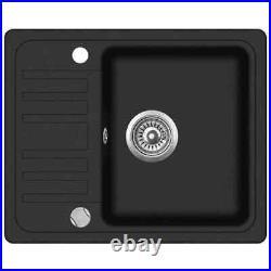 Granite Kitchen Sink Single Basin 1.0 Bowl Overmount with Basket Strainer Black