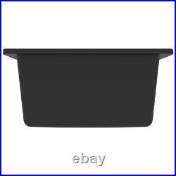 Granite Kitchen Sink Single Basin 1 Deep Bowl Black Undermount Strainer Basket