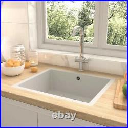 Granite Kitchen Sink Single Basin 1 Deep White Bowl Undermount Strainer Basket