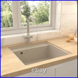 Granite Kitchen Sink Single Basin 1 Large Bowl Beige Undermount Strainer Basket