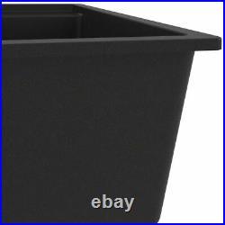 Granite Kitchen Sink Single Basin 1 Large Bowl Black Undermount Strainer Basket