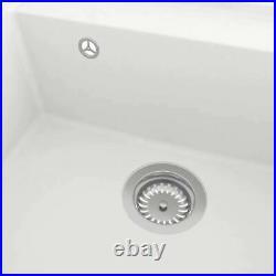 Granite Kitchen Sink Single Basin 1 Large Bowl White Undermount Strainer Basket