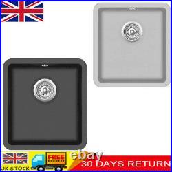 Granite Kitchen Sink Single Basin Bowl Basket Strainer Kit Undermount Black/Grey