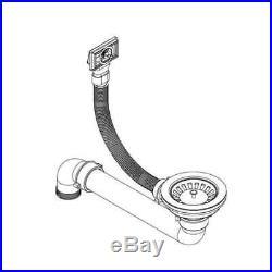 Granite Kitchen Sink Single Basin Bowl Undermount Basket Strainer Kit Black/Grey