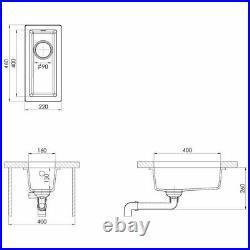 Granite Kitchen Sink Single Basin Narrow Bowl Beige Undermount Strainer Basket