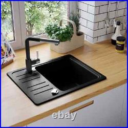 Granite Kitchen Sink Single Bath Basin Bowl with Basket Strainer Black / Grey
