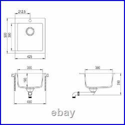 Granite Overmount Kitchen Sink Single Bowl Basin Plumbing Kit Drainer Waste Kit