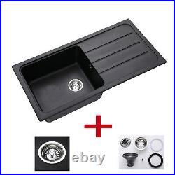 Granite Single Bowl Reversible Black Kitchen Sink With Basket Waste Kit