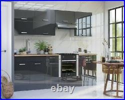 Grey Gloss 80cm Kitchen Unit Cabinet Cupboard + Single Bowl Franke 800 Sink Luxe