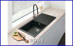 Grey Granite Kitchen Sink Single Bowl Basin Strainer Basket Waste Reversible