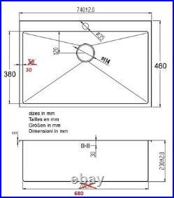 Handmade Single 1.0 Bowl Satin Stainless Steel Inset Kitchen Sink (DS028-1)