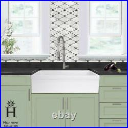 Highpoint Collection 36 Single Bowl Fireclay Sink Made in Italy White Kitchen