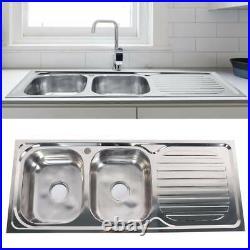 Inset Kitchen Sink Single Bowl Stainless Steel Reversible Drainer Undermount